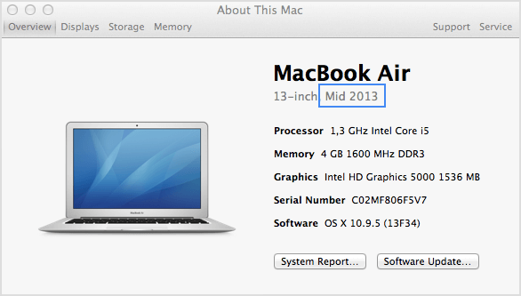 About this mac OS X Mavericks