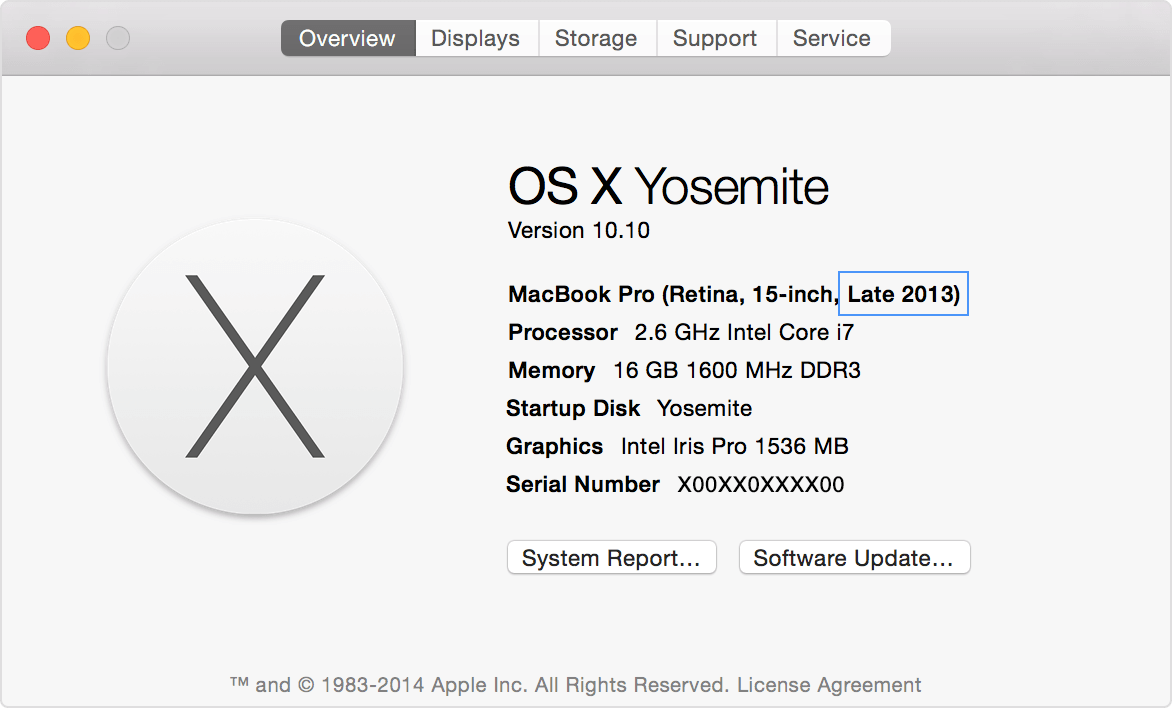 About this mac OS X Yosemite