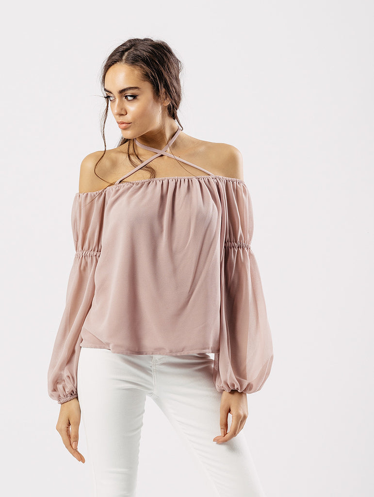 Rose Bardot Chiffon Blouse With Halter Support