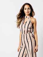 Choker Neck Stripe Cullote Jumpsuit