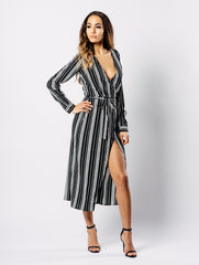Monochrome Stripe Long Sleeve Midi Dress
