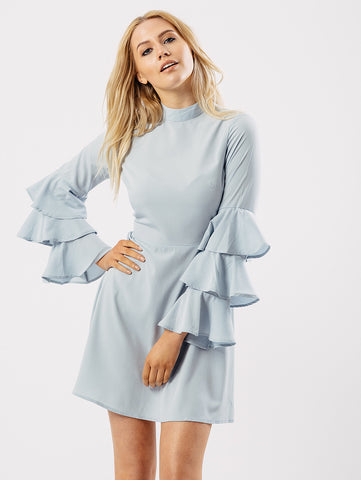 Sky Blue Flute Long Sleeve Dress