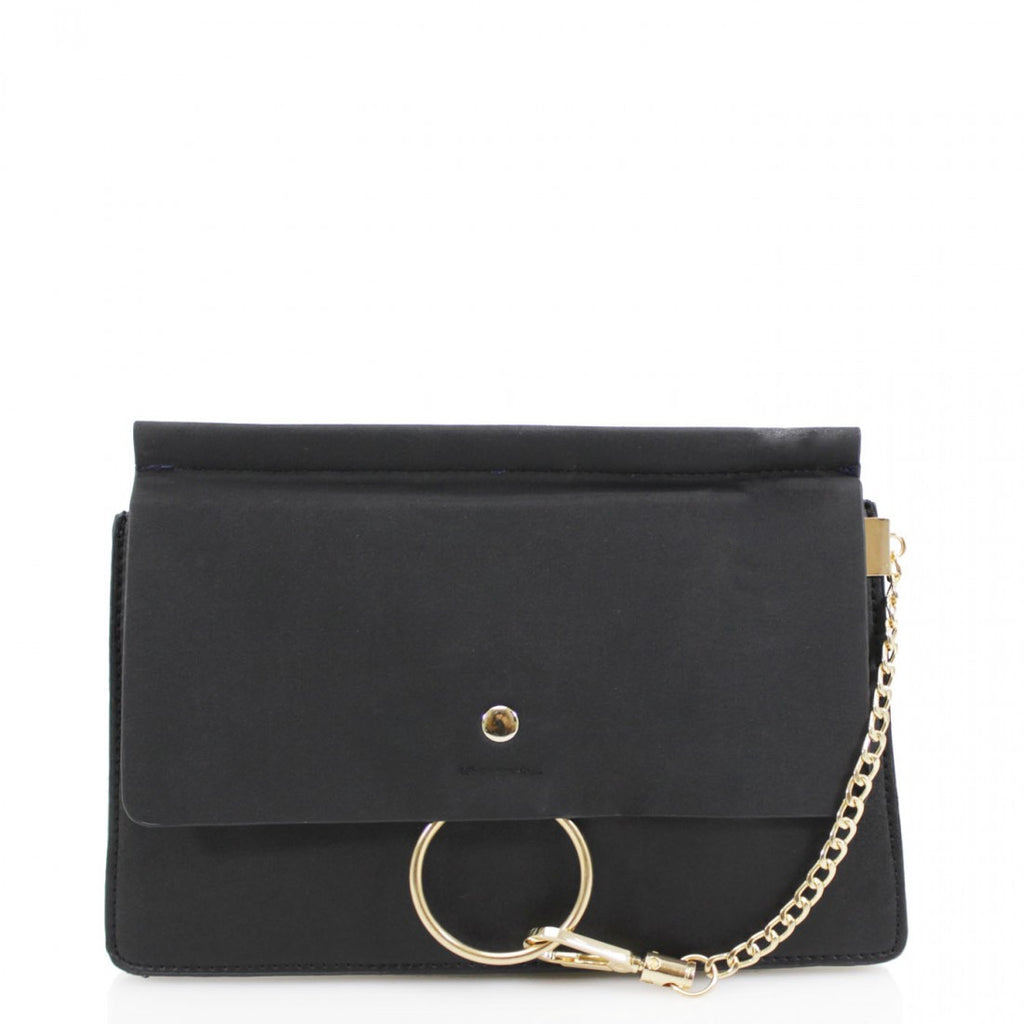 Khloe Small Black Clutch Bag With Chain Detail