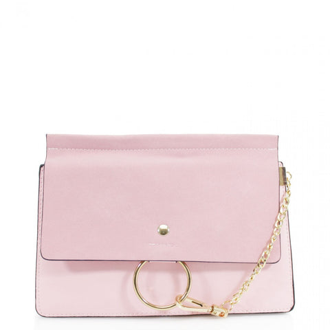Khloe Small Pink Clutch Bag With Chain Detail