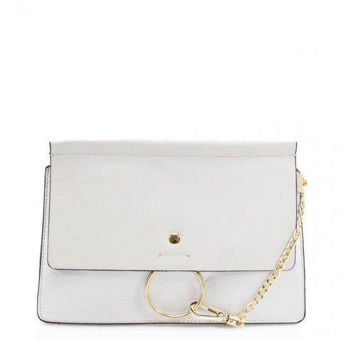 Khloe Small Grey Clutch Bag With Chain Detail