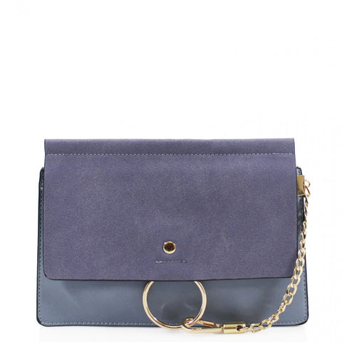 Khloe Small Blue Clutch Bag With Chain Detail