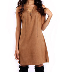 Peaches Suedette Shift Dress in Tan