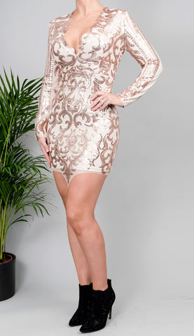 Taryn Sequin Champagne Dress