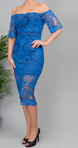 Tessa Blue Lace Midi Dress