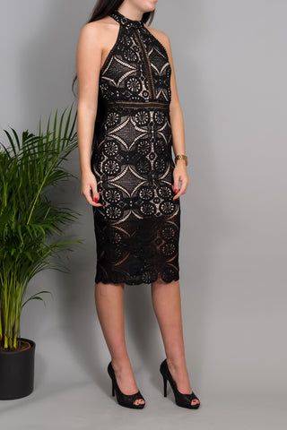 Margot Black Lace Midi Dress