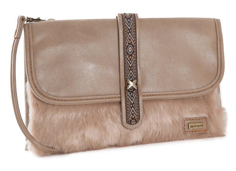 Beige Faux Fur Across Body Bag