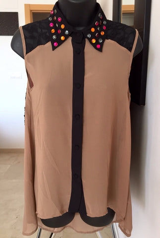 Beautiful Sleeveless Blouse with Gems on Collar