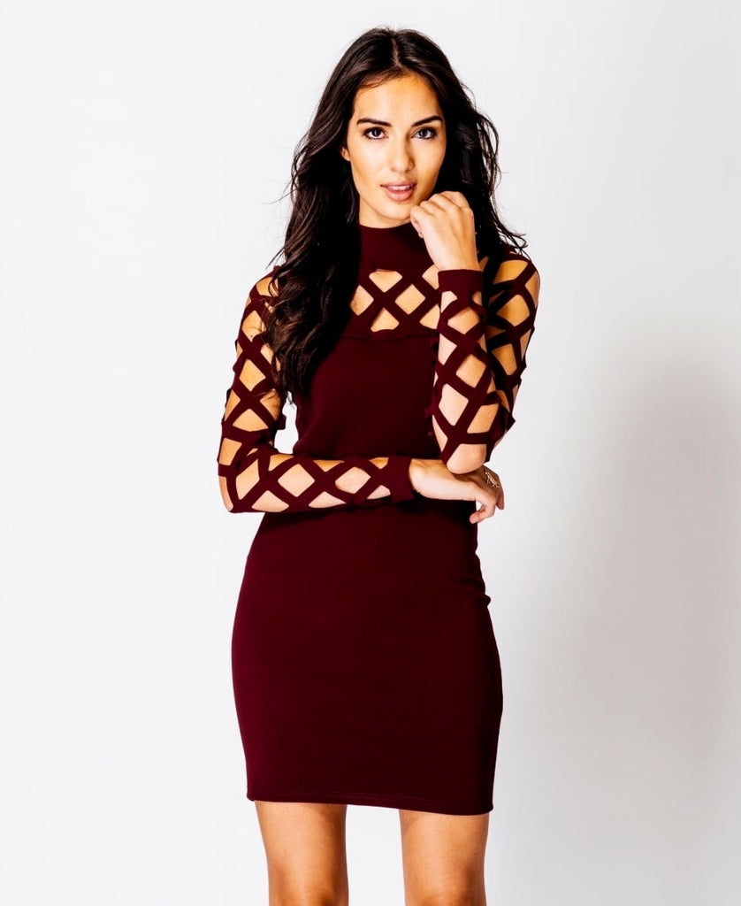 Wine Laser Cut Out Long Sleeve Dress