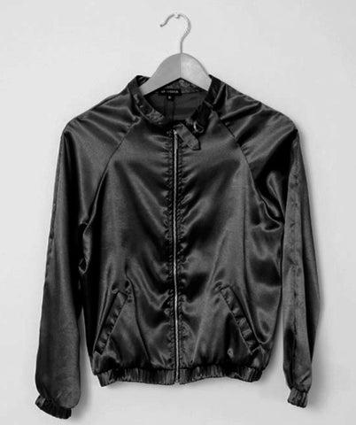 Black Shiny Zip Bomber Jacket