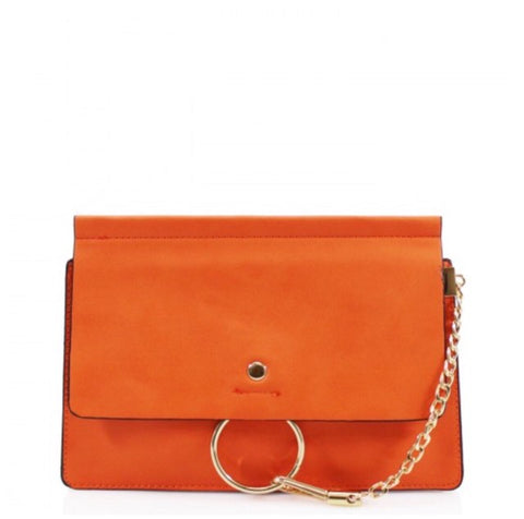 Khloe Small Orange Clutch Bag With Chain Detail