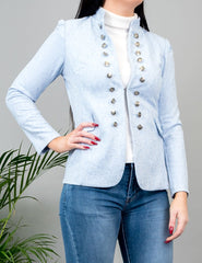 Millicent Suedette Military Jacket Blue