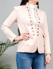 Millicent Suedette Military Jacket Pink