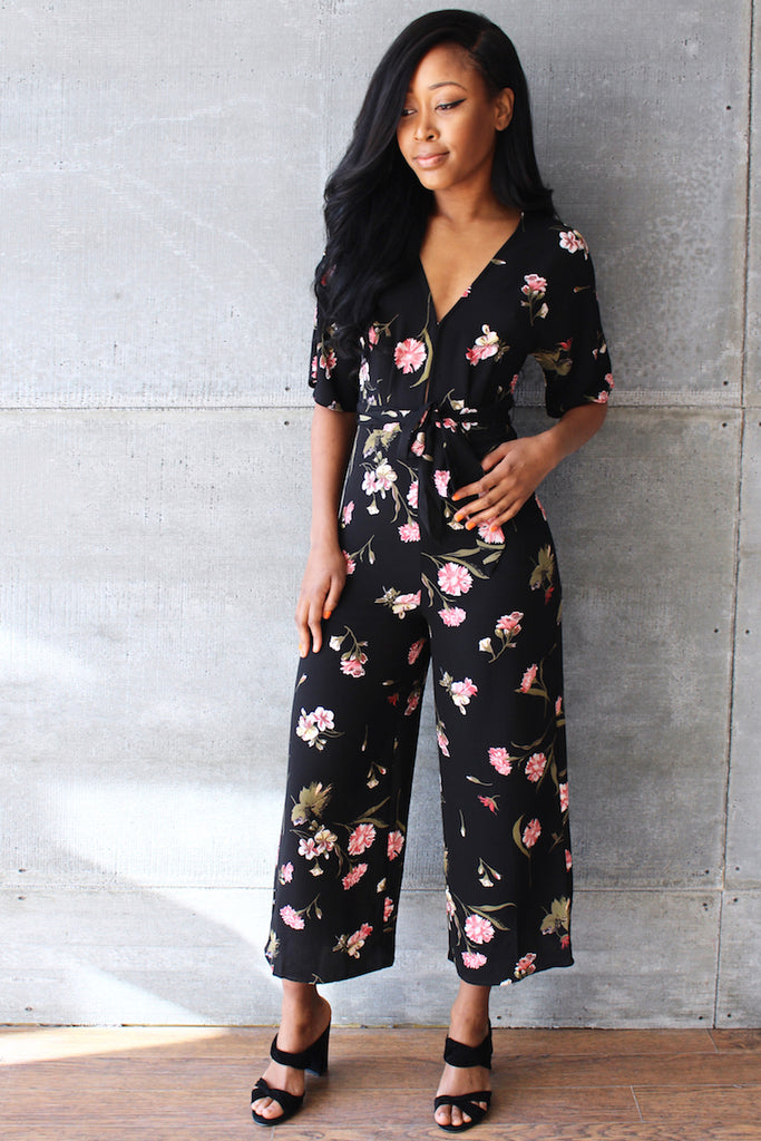 Blessed Jumpsuit Black Multi Front View