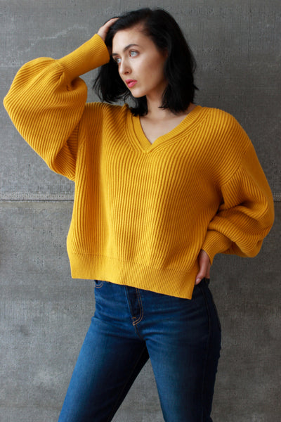 V-Neck Sweater Mustard