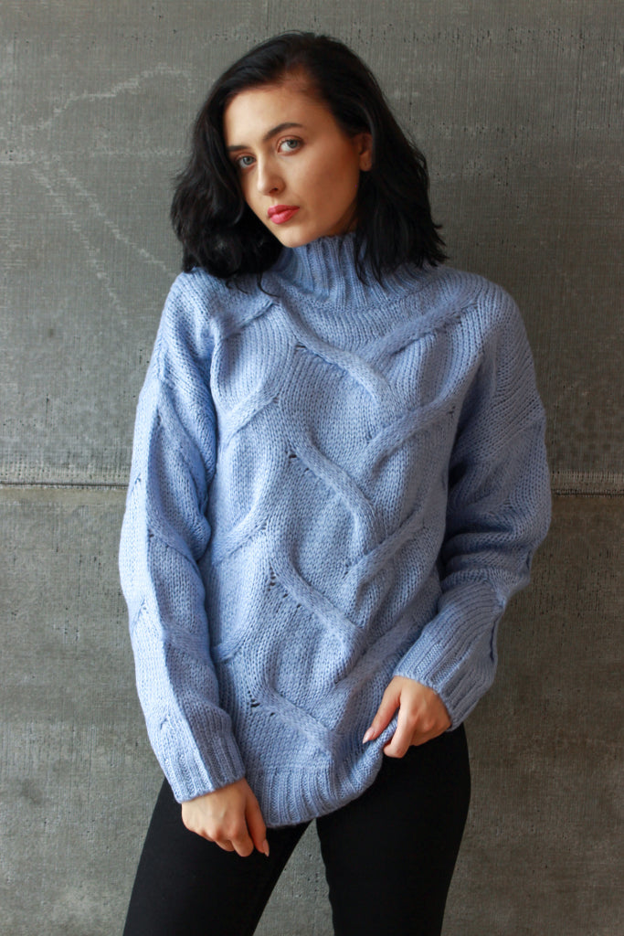 Macro Cable Knit Sweater Blue