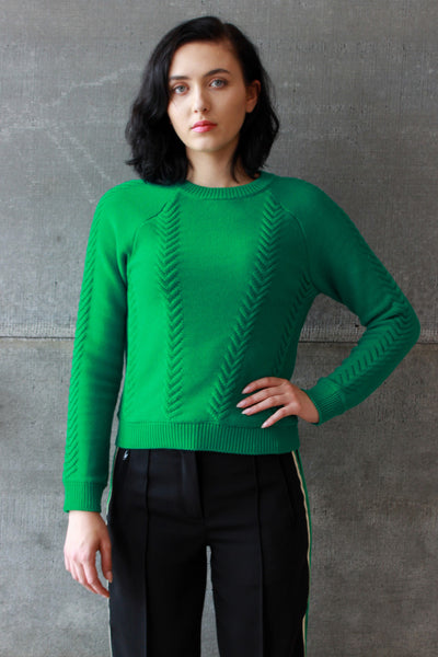 Cable Knit Top Lotus Leaf
