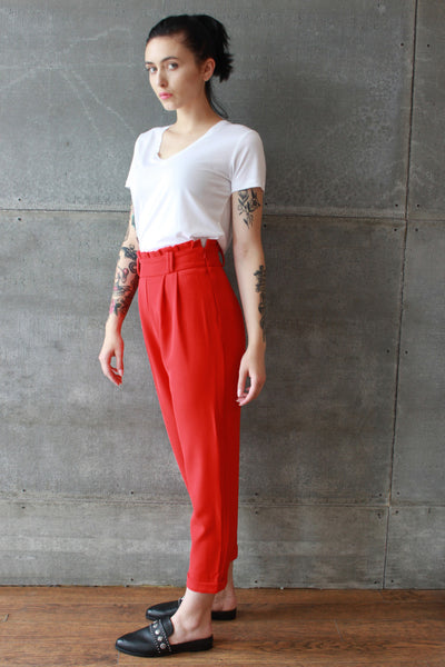 Paper Bag Waist Pants Red