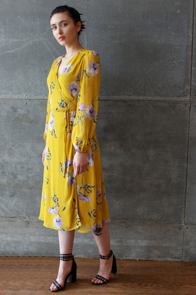 Printed Wrap Dress Mustard