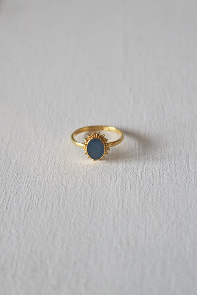 Opal Burst Ring Gold