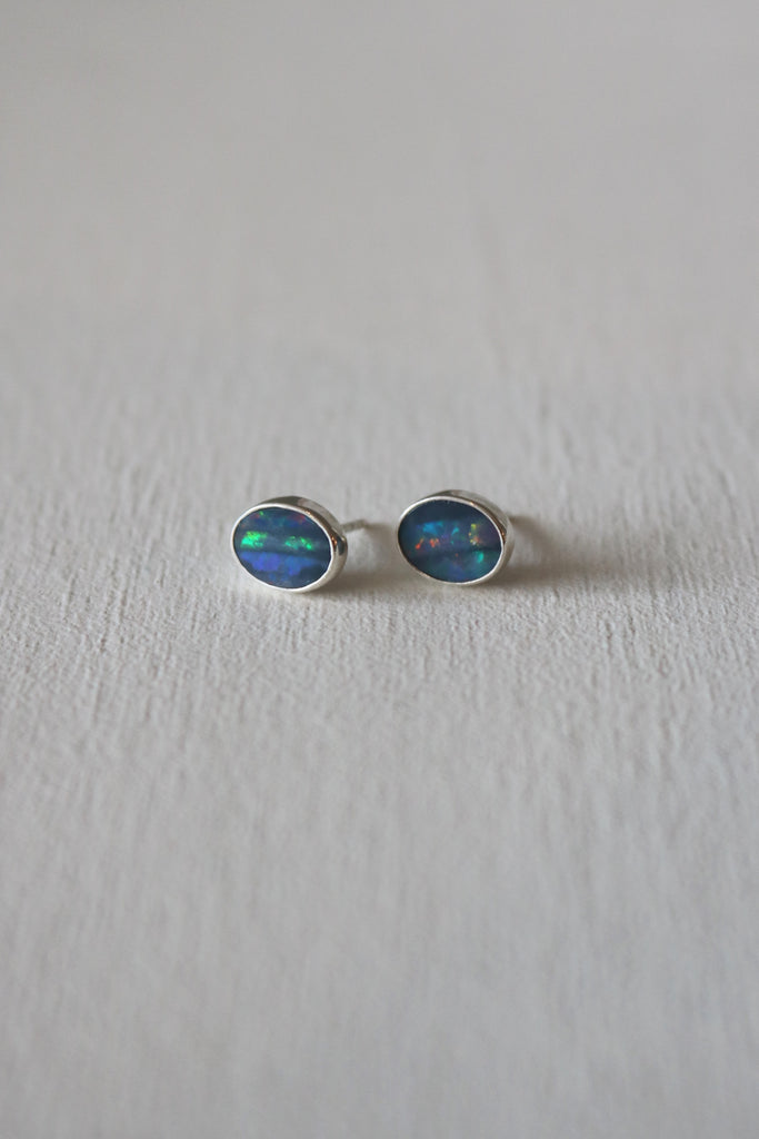 Simple Opal Studs Silver