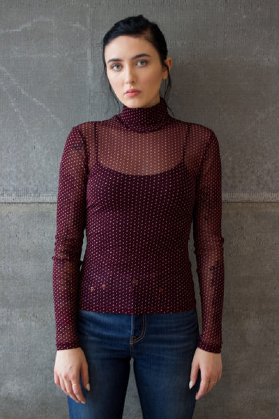 Sheer Dot Turtleneck Wine