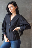 Two Button Blouse Black
