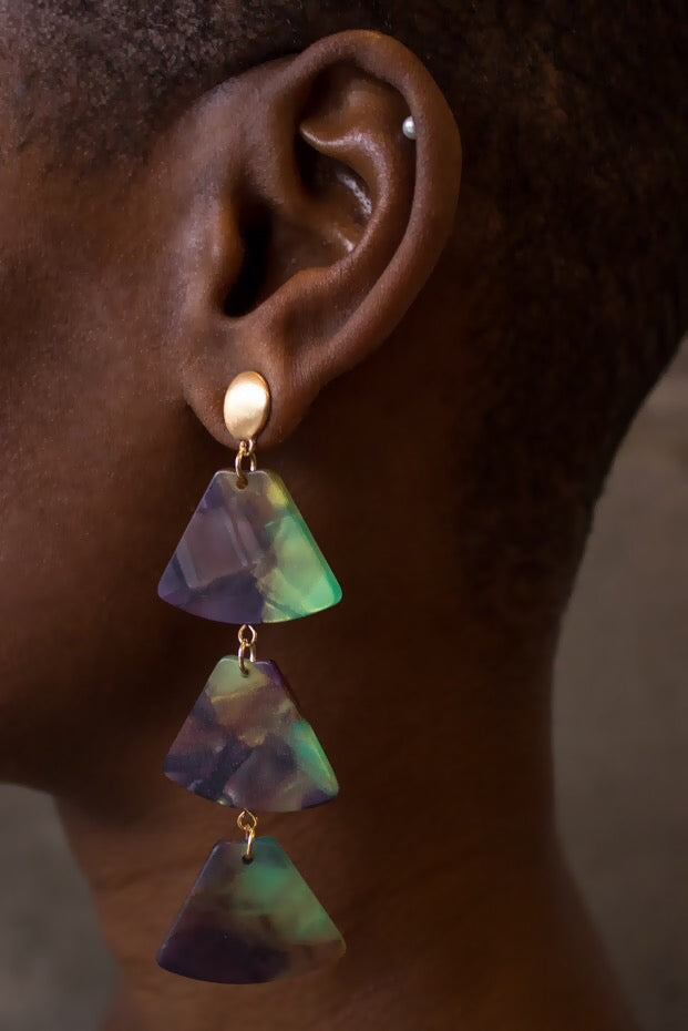 Tortoise Triangle Drop Earrings Tropic
