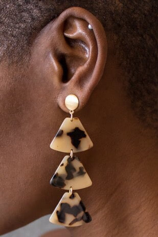 Tortoise Triangle Drop Earrings Natural