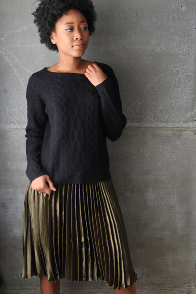 Pleated Midi Skirt Olive