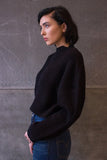 Cropped Mock Neck Sweater Black