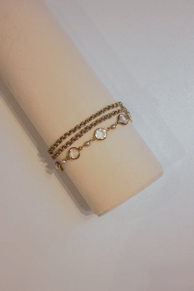 Crystal Chain Bracelet Gold/Clear