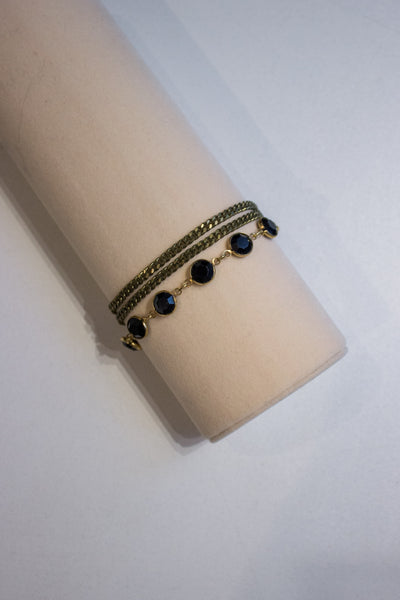 Crystal Chain Bracelet Bronze/Black