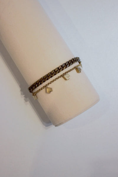 Heart Chain Bracelet Bronze
