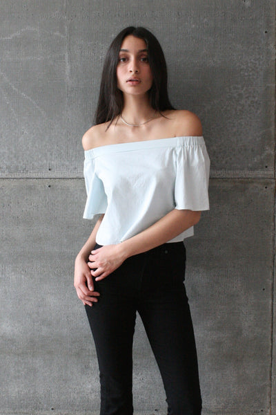 Cropped Off Shoulder Top Light Chambray