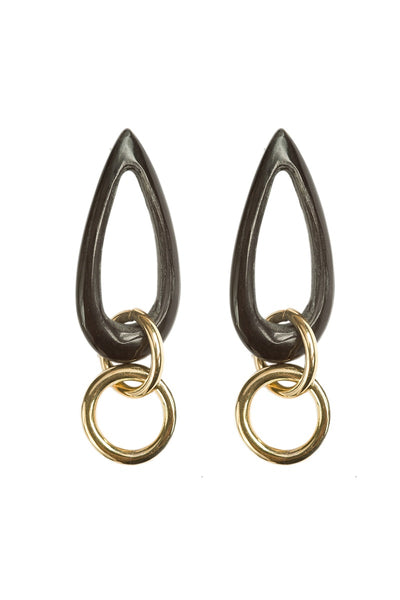 Luo Teardrop Earrings Black/Brass