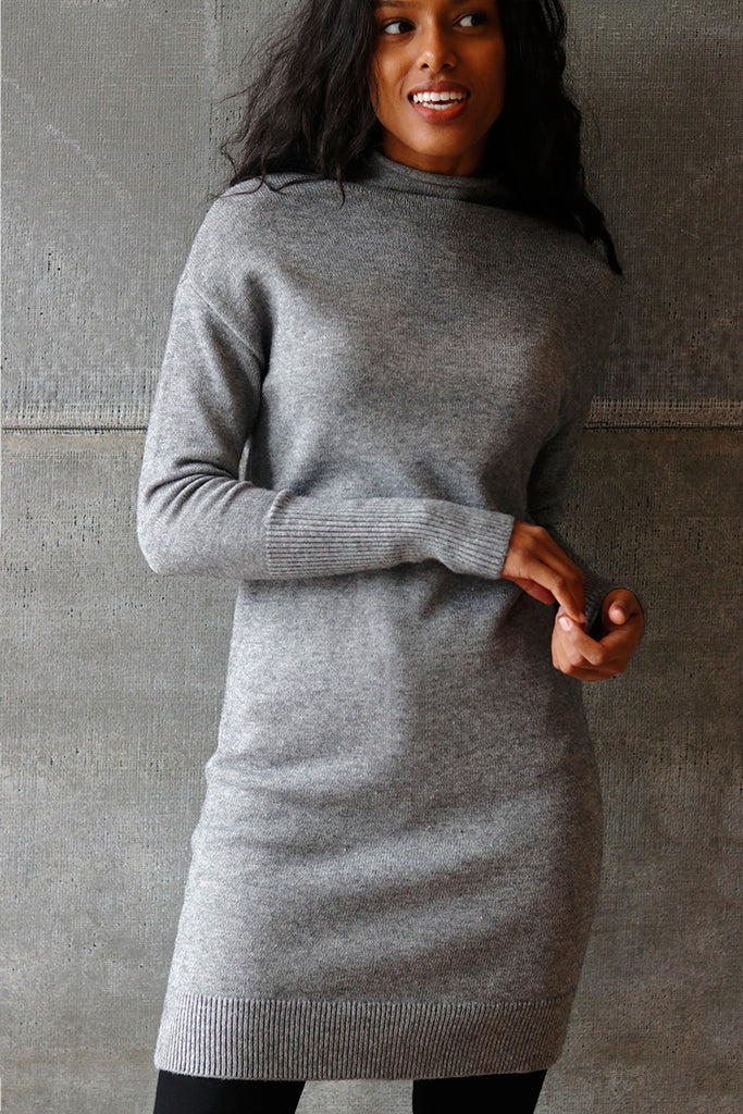 Mock Neck Sweater Dress Grey
