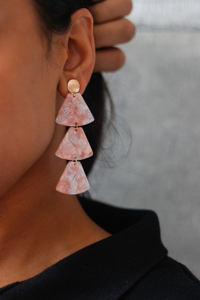 Tortoise Triangle Drop Earrings Pink
