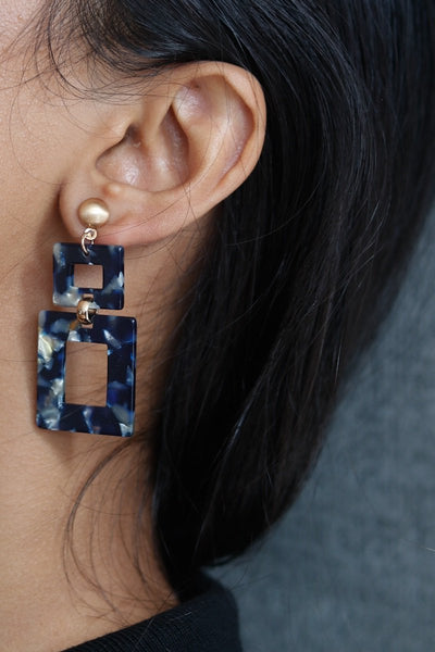 Rectangle Drop Earrings Tortoise Blue