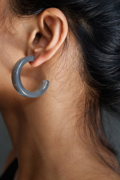 Medium Lucite Hoops Grey