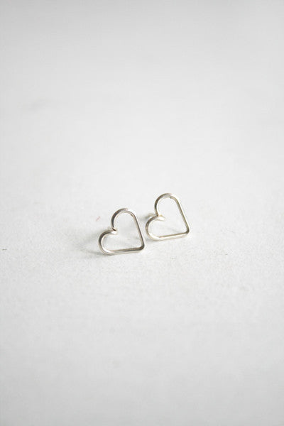 Heart Stud Earrings Silver