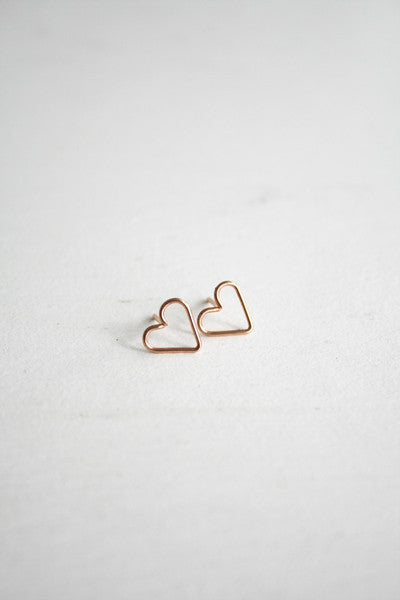 Heart Stud Earrings Rose Gold