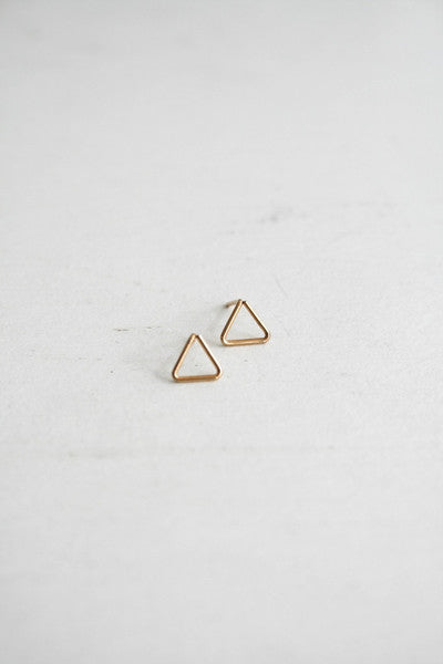 Triangle Stud Earrings Gold