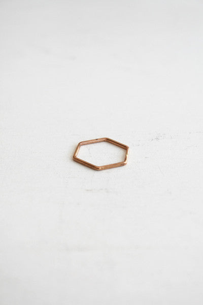 Hex Stacking Ring Rose Gold
