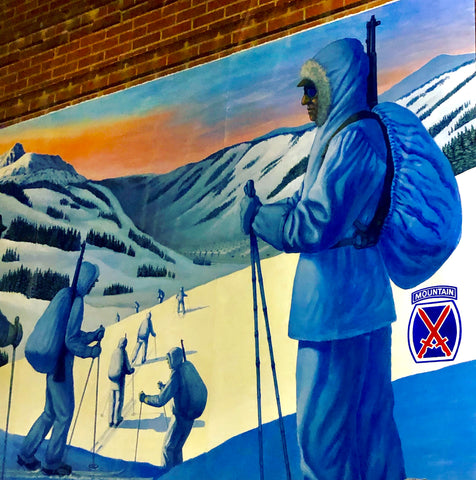 10th mountain division ski soldiers trained at Camp Hale, Colorado. Mural on a a brick building in Leadville, Colorado.
