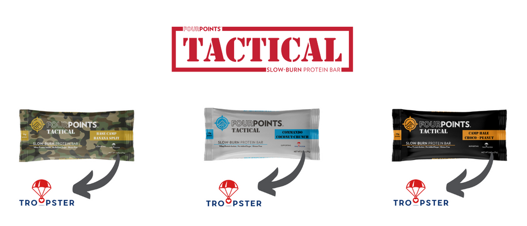 Fourpoints Tactical Bars donate 1% of sales to Troopster, helping them send care packages to American Soldiers around the globe.